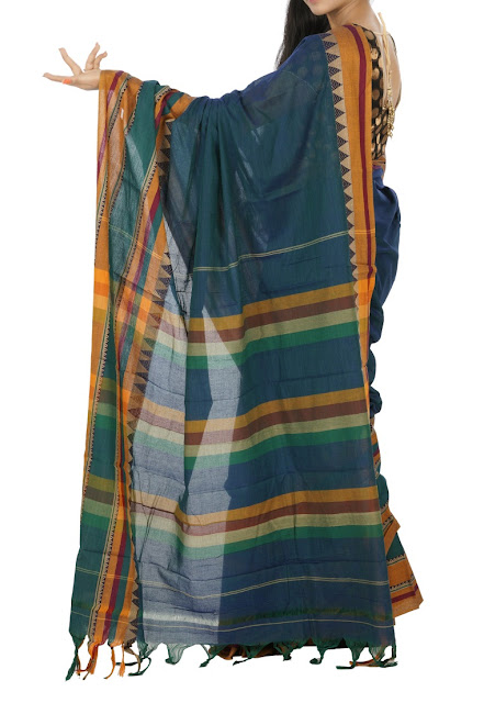 Teal Green Color Narayanpet Cotton Saree