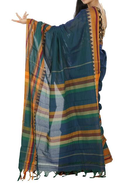Teal Green Color Narayanpet Cotton Saree