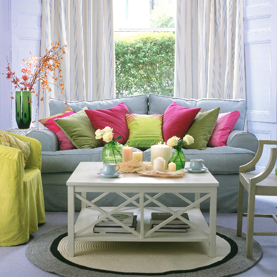 Bright Cushions, Glassware And A Malabar Lime Chair Cover Provide  Contrasting Colour.