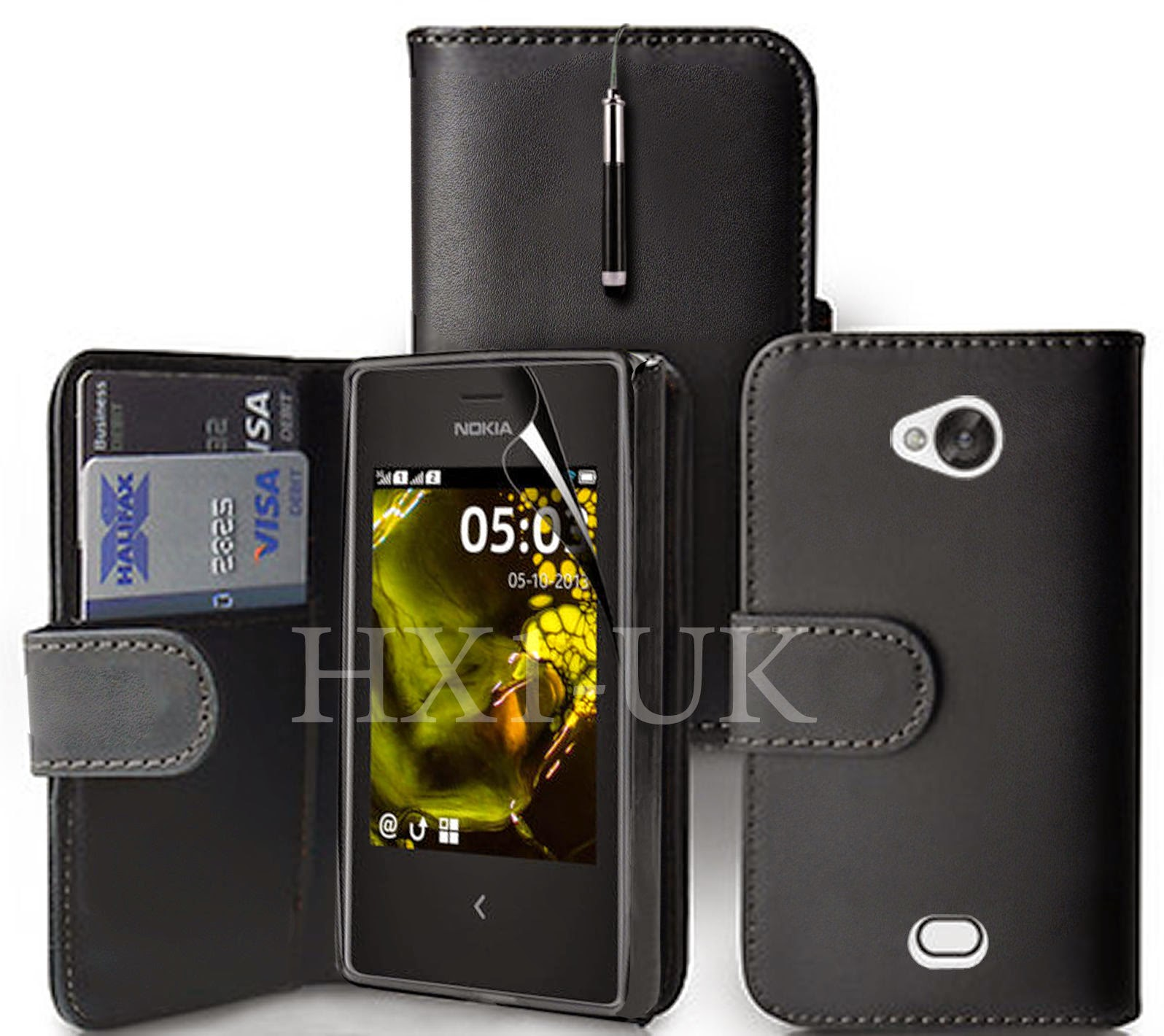BLACK WALLET LEATHER CASE COVER FOR NOKIA ASHA 503 & SCREEN GUARD + RECTRACT PEN