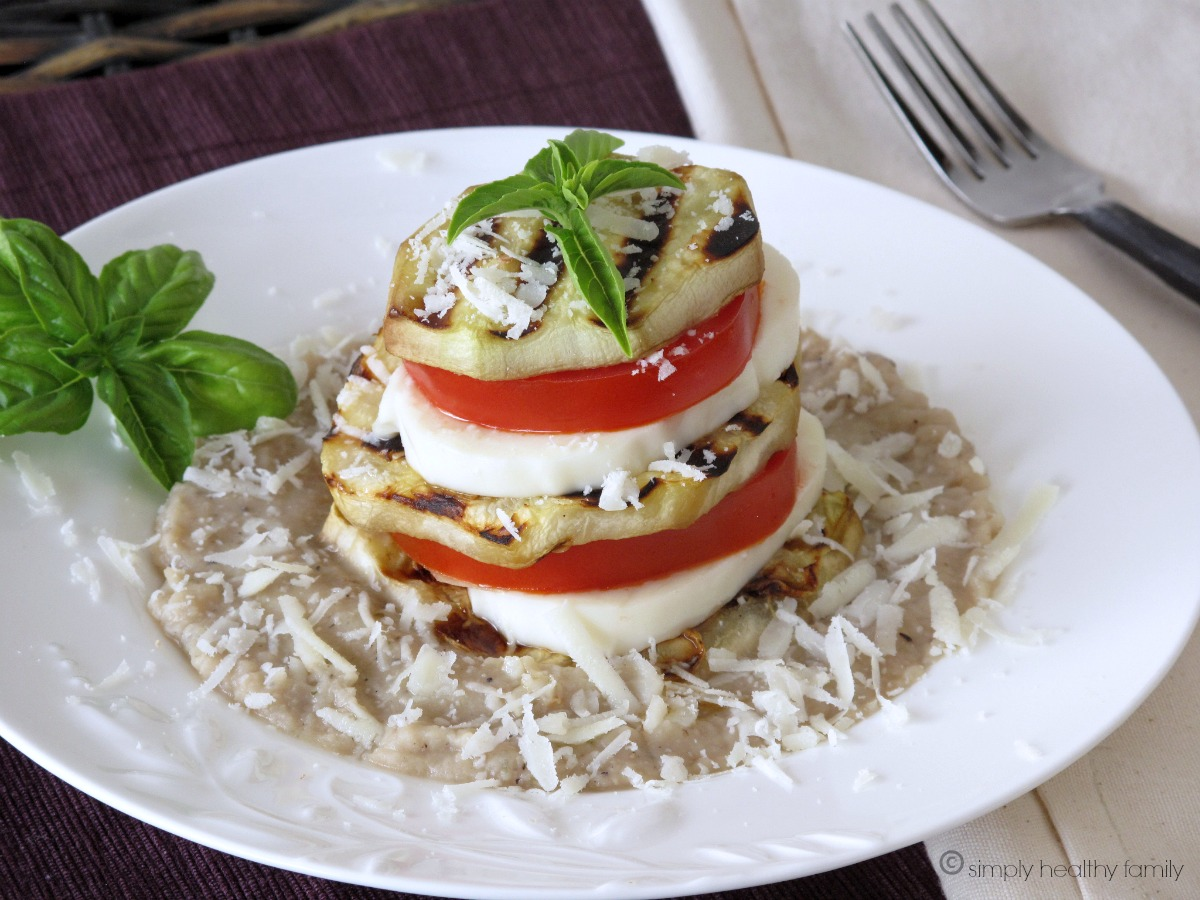 Grilled Eggplant Caprese with Garlicky White Bean Puree