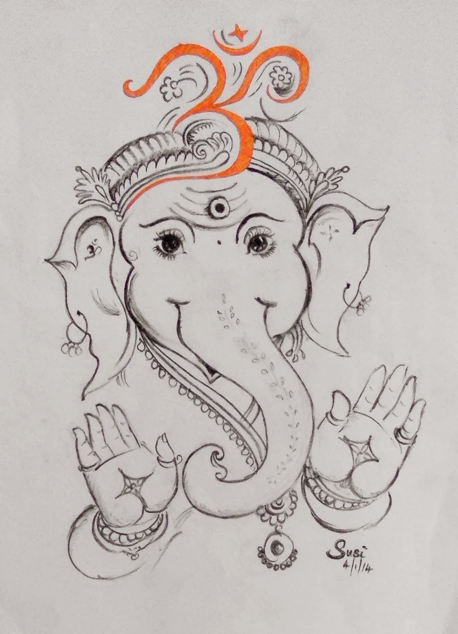 The first picture susil drew in 2014 is a sketch of lord ganesha inspired by an art by an artist called padmavasan