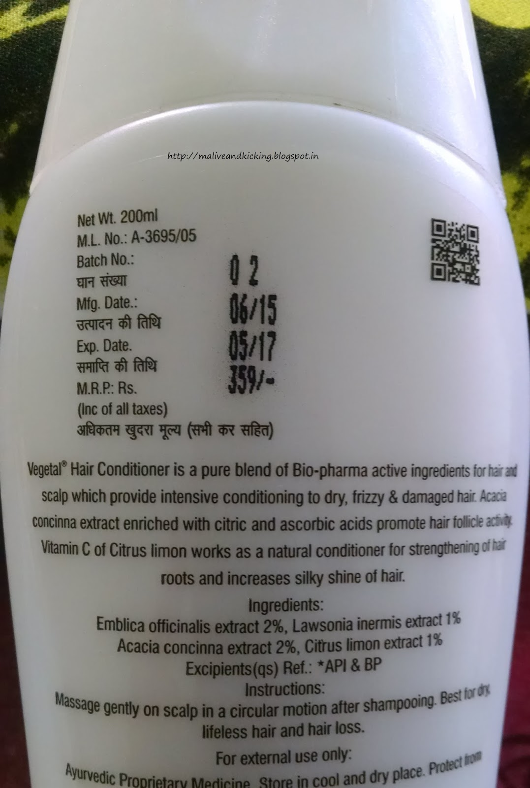 Alive N Kicking Vegetal Hair Conditioner Review