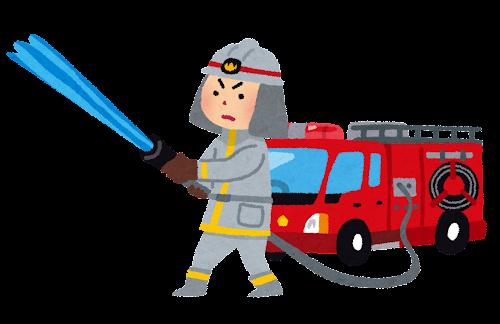 消防士と消防車のイラスト