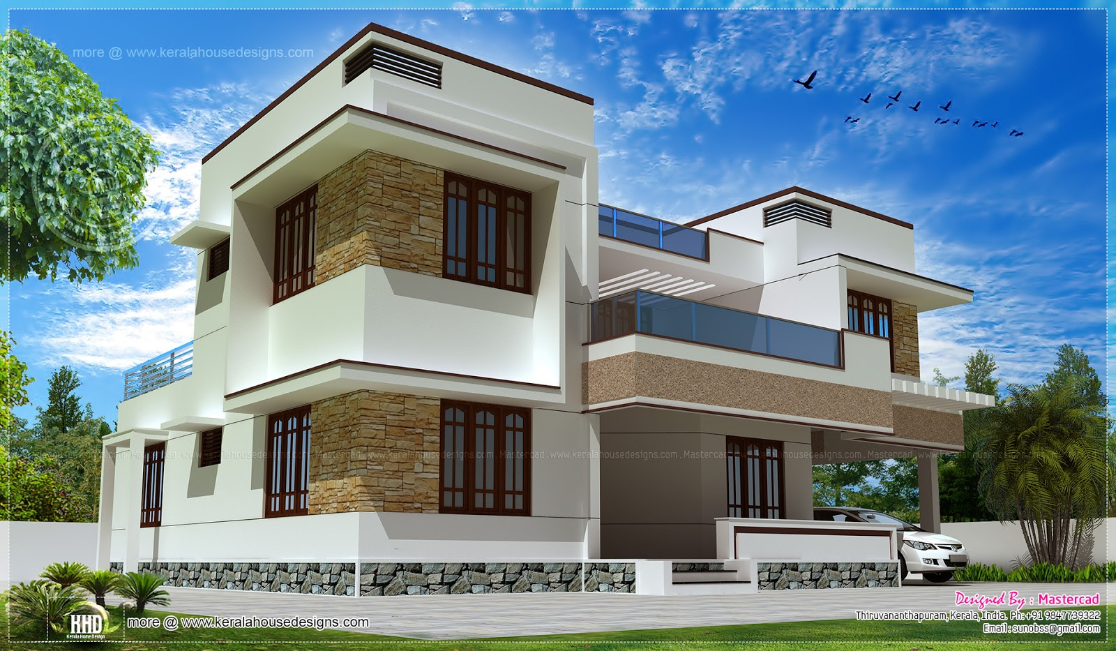 Modern flat roof villa exterior elevation kerala home for Flat exterior design