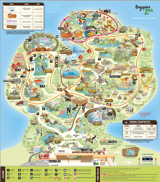 Mapa do zoológico de Cingapura