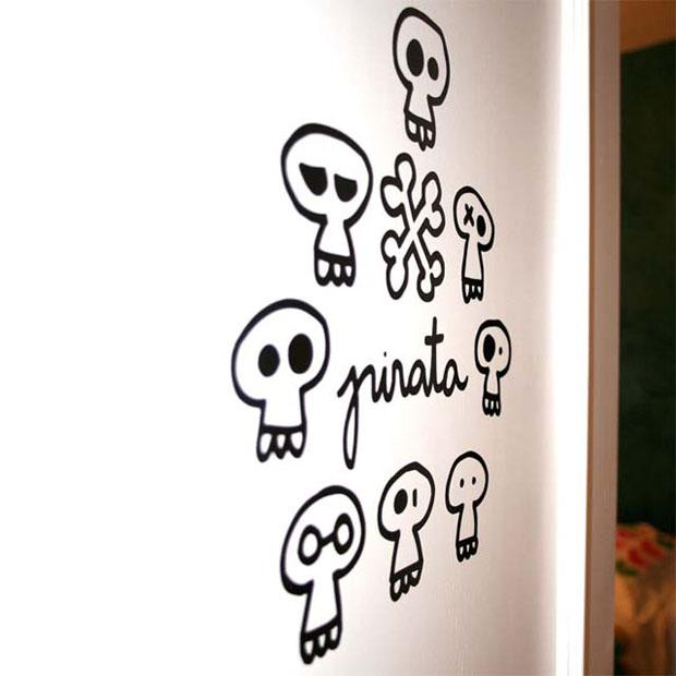 Vinilo,pared,Chispum,vinil,wall,calaveras,pirata,pirate,niños,kids