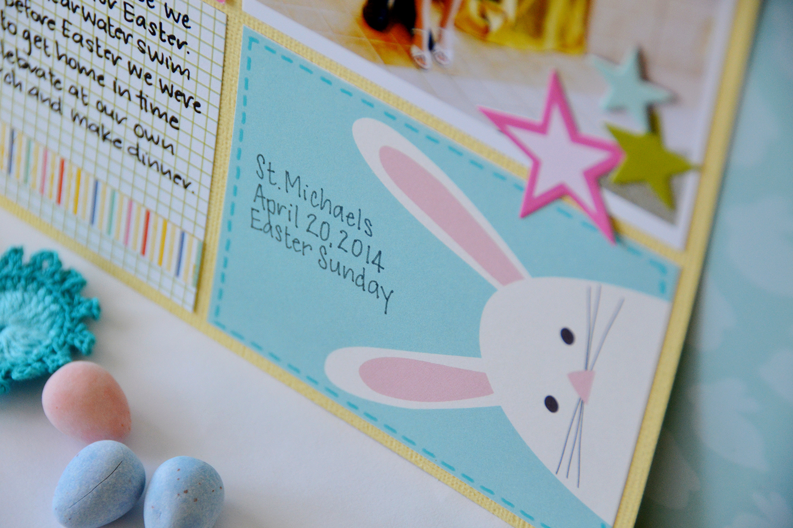 Hoppy Easter Scrapbook Page Layout by Suzanna Lee featuring 17turtles Digital Cut File Happy Hoppy Easter