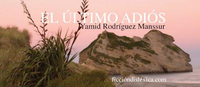 imagen de atardecer en la playa con vista a una isla junto al título de la poesía el último adiós de Yamid Rodríguez Manssur para el blog ficciondislexica.com literatura independiente ecuatoriana