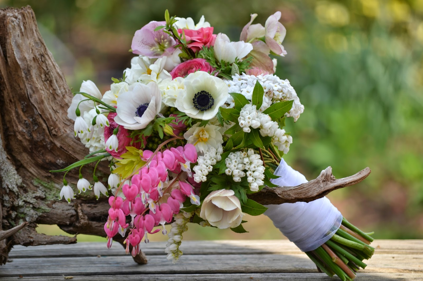 Wedding flowers from springwell romantic bleeding heart for april wedding bouquets - Flowers good luck bridal bouquet ...