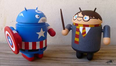 San Diego Comic-Con 2011 Exclusive Captain America &amp; Harry Potter Custom Androids by Gary Ham