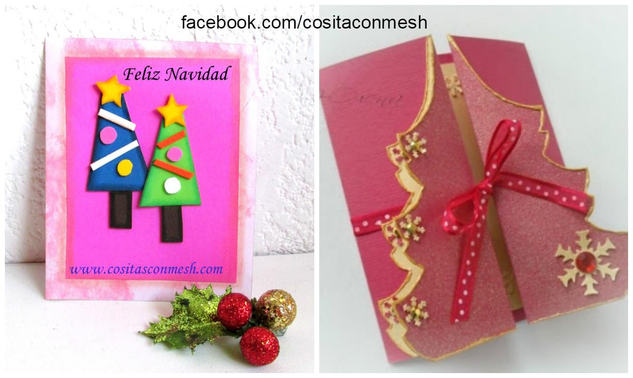 C mo hacer una tarjeta navide a con arbolitos en foami - Postales navidenas para hacer ...