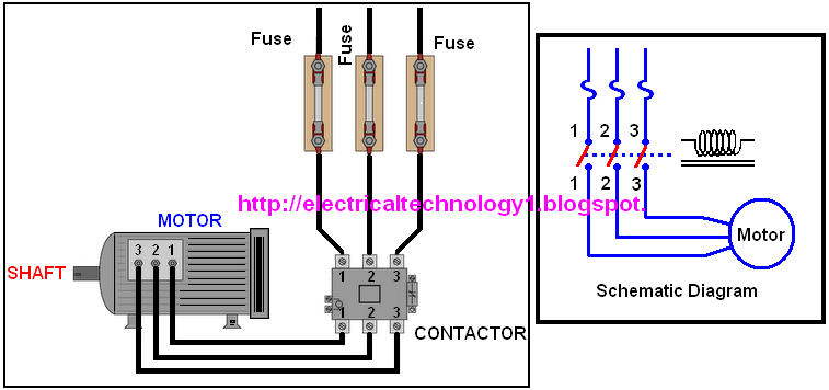 A simple circuit diagram of contactor with three phase motor for 3 phase motor to single phase