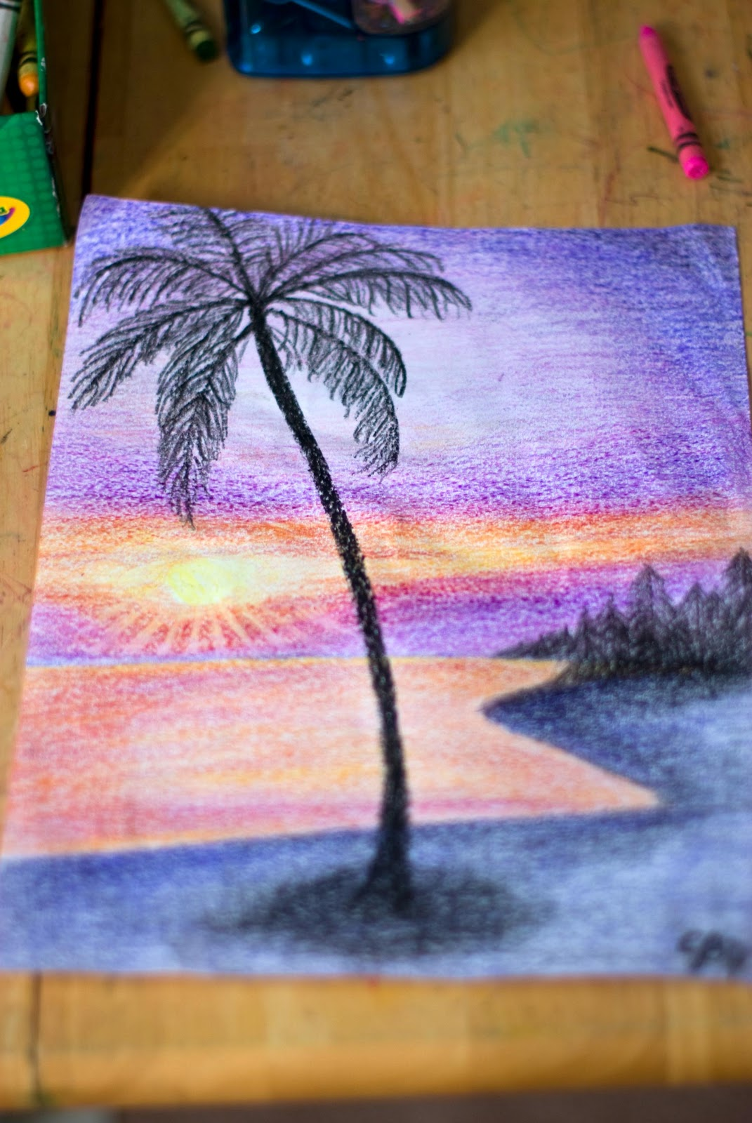 how to draw a sunset with crayons