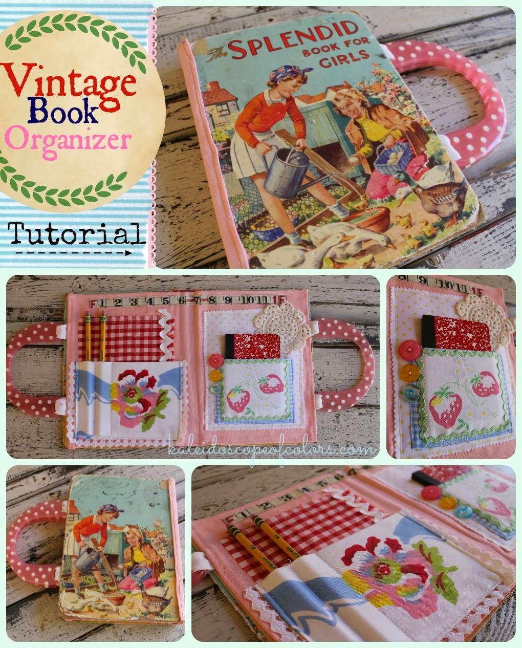 Vintage Book Cover Tutorial : Kaleidoscope of colors vintage book organizer tutorial