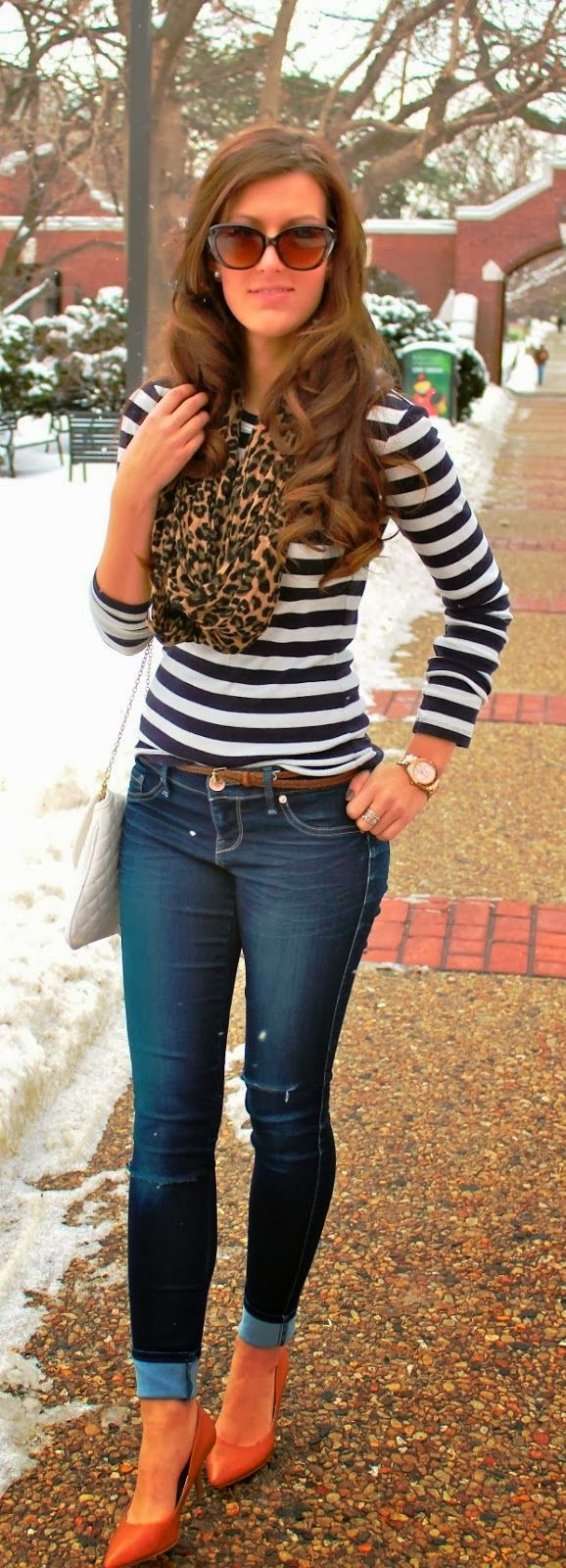 See More Winter Style With Stripes And Leopard Scarf