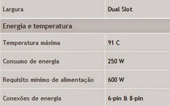 Visite o site do fabricante da placa de vídeo para ver as especificações de energia da mesma