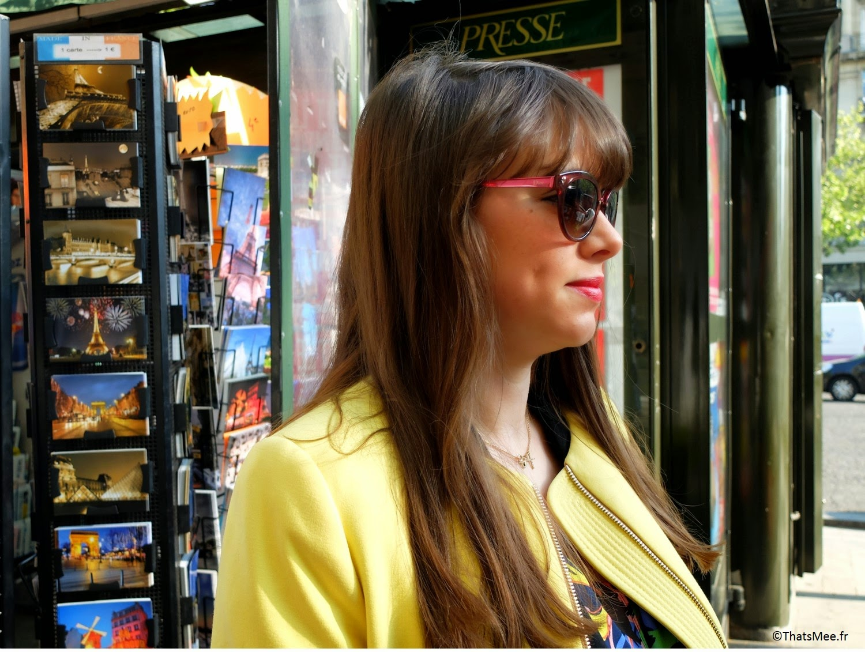 Manteau jaune 3/4 Zara, Blazer the Kooples, Top H&M ancienne robe customisée, Pochette z&V zadig et voltaire,  Bracelet Dinh Van   Bagues vintages   Shoes Kookai, Pantalon noir La Petite Française, Lunettes de Soleil écaille femme Dior