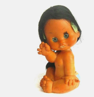 ismoyo's vintage playground - cute waving big eyed rubber doll