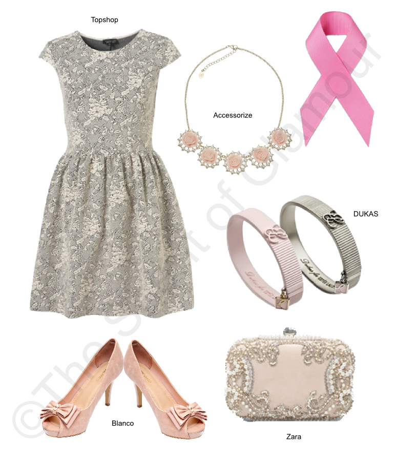 TopShop dress, Blanco shoes, Accesorize necklace, Dukas Xatzidoukas pink ribbon support breast cancer, Zara clutch bag