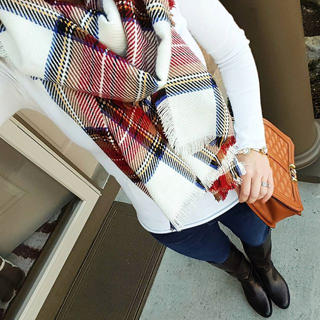 Banana Republic Factory Sweater (similar) // Joe's Jeans // Vince Camuto Jaran Riding Boots // Merona Scarf // Purple Peridot Cuff Bracelet - only $6, regular $25! // Rebecca Minkoff Handbag (more handbags on sale here)
