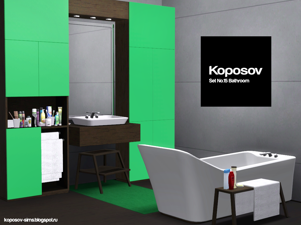 Koposov objects for the sims set bathroom for for Bathroom ideas sims 3