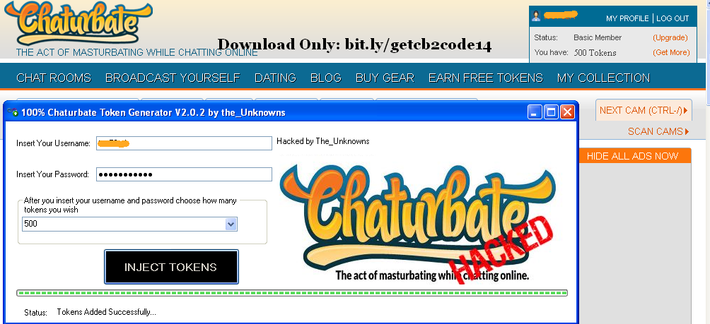 chaturbate token generator activation code