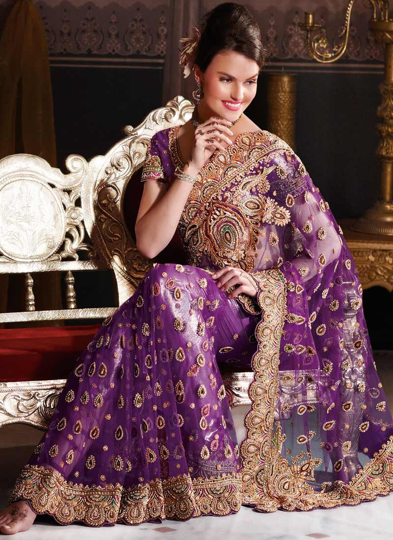 This Purple Shade Highly Embellished   Saree Saree Is Bedecked With