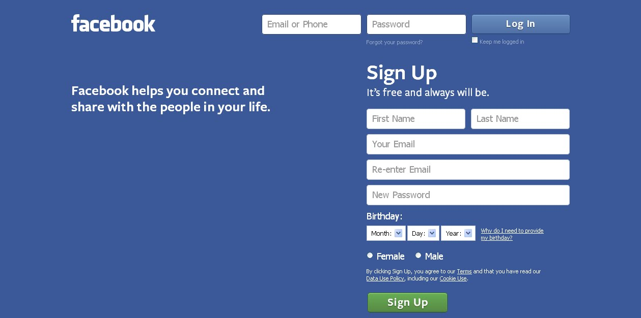 Facebook login page new look . Font is a bit big rest is cool
