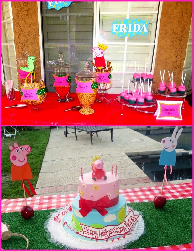 Peppa Pig Birthday Cake & Dessert Table