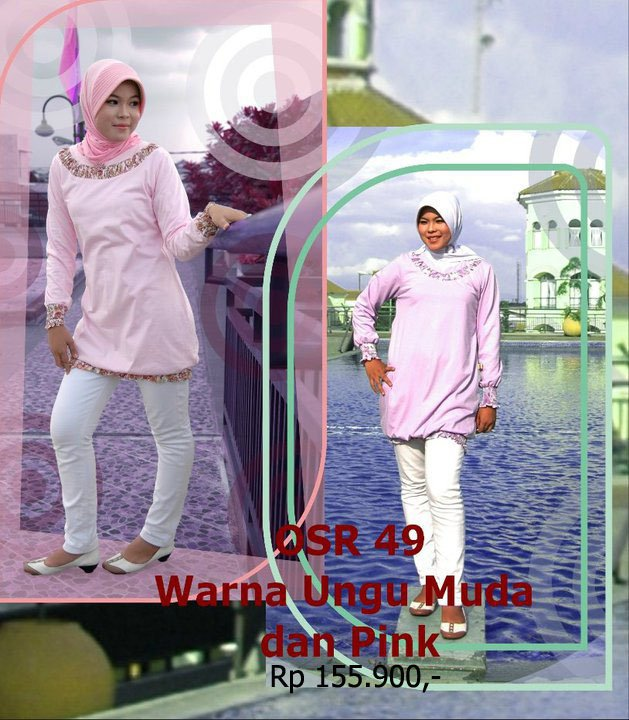 Koleksi Osmoes Kaos Muslimah Trendy Ungu Muda Pink