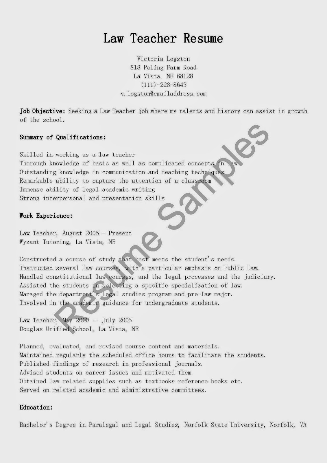 resume samples  law teacher resume sample