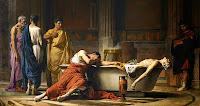 Este óleo de Manuel Sánchez Domínguez recrea el momento en que Séneca se abre las venas en el baño rodeado de sus parientes y amigos. 1871. Museo del Prado, Madrid.