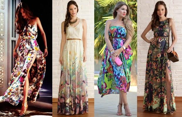 primavera, vestidos, florais, longos