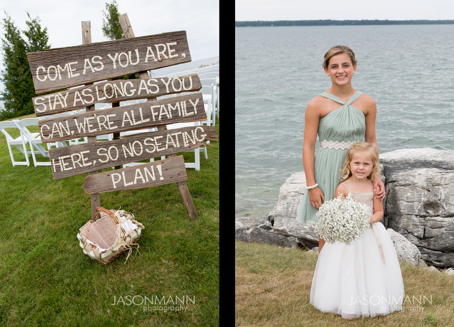 Rustic wedding sign on wooden planks. Flower girls in teal and white holding babys breath bouquets. Door County wedding. Photo by Jason Mann Photography, 920-246-8106, www.jmannphoto.com