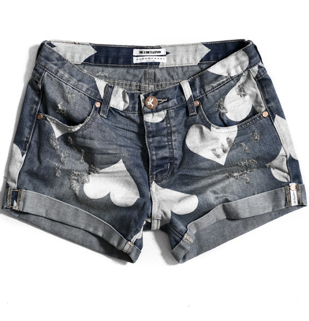 One Teaspoon heart print denim shorts