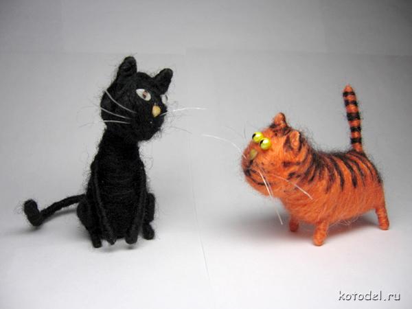 Как сделать кота из ниток