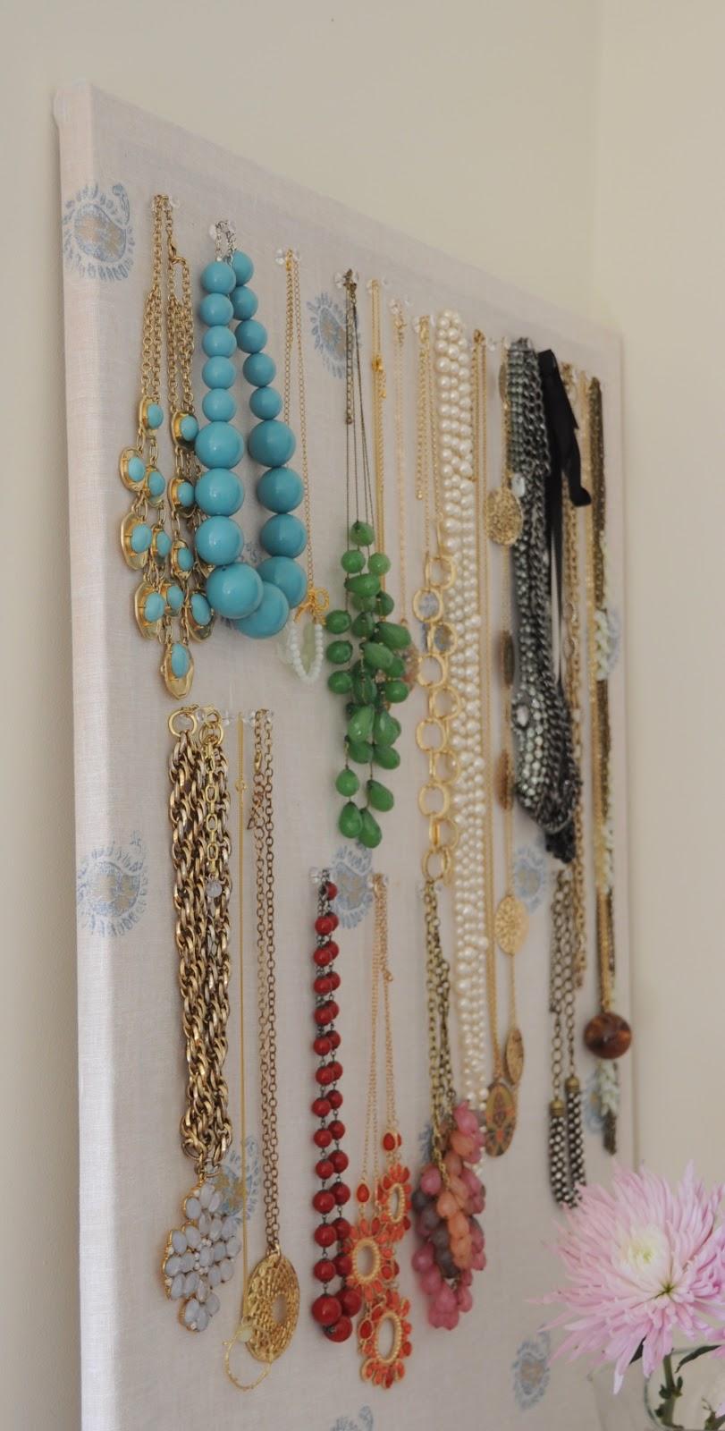 deliciously organized DIY Organize Necklaces on CorkBoard