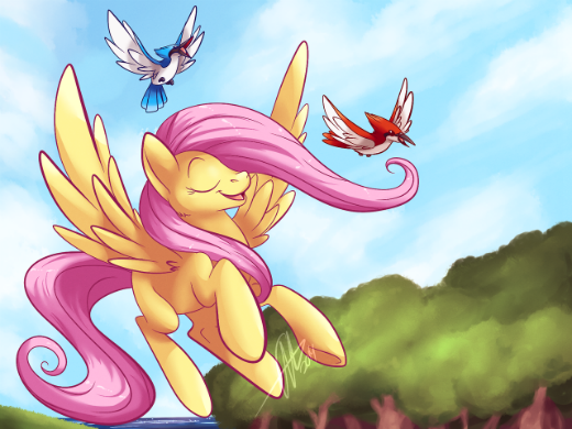 Flying and singing Fluttershy