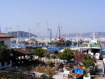 Kaş harbour with the Dodecanese Greek island of Meis in the background