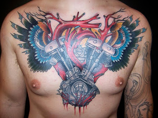 Full Color Chest Piece Engine Tattoo Design - biomechanical tattoo