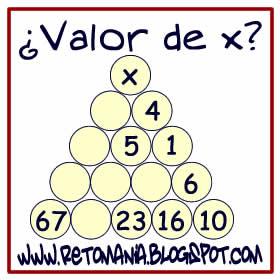 Retos matemáticos, Desafíos matemáticos, Problemas de lógica, Problemas para pensar, Descubre el número, Cuál es el número que falta, Pirámides numéricas