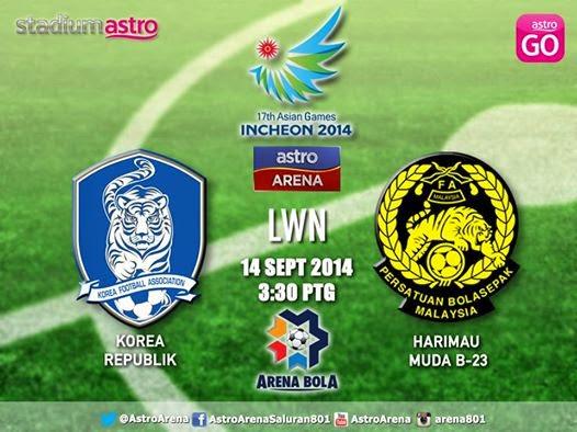 Siaran Langsung Malaysia vs Korea Sukan Asia 2014