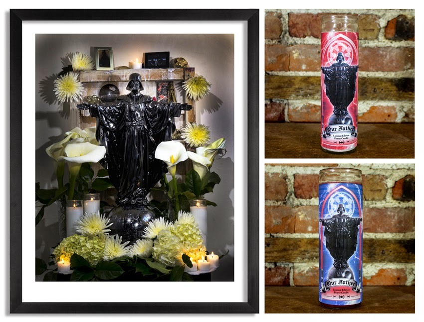 """Our Father"" Darth Vader Star Wars Print & 7 Day Prayer Candles by Sket One"