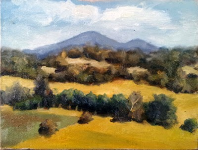 Oil painting of two distant and undulating mountain peaks, with eucalyptus trees and dry rolling hills in the foreground.