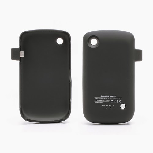 1800mAh Powerbank Pack Battery Charger Case for BlackBerry Curve 8520 - Black