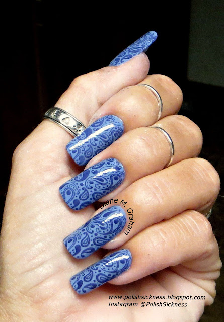China Glaze Fade into Hue, Sinful Colors Mesmerize, Dana10 stamp