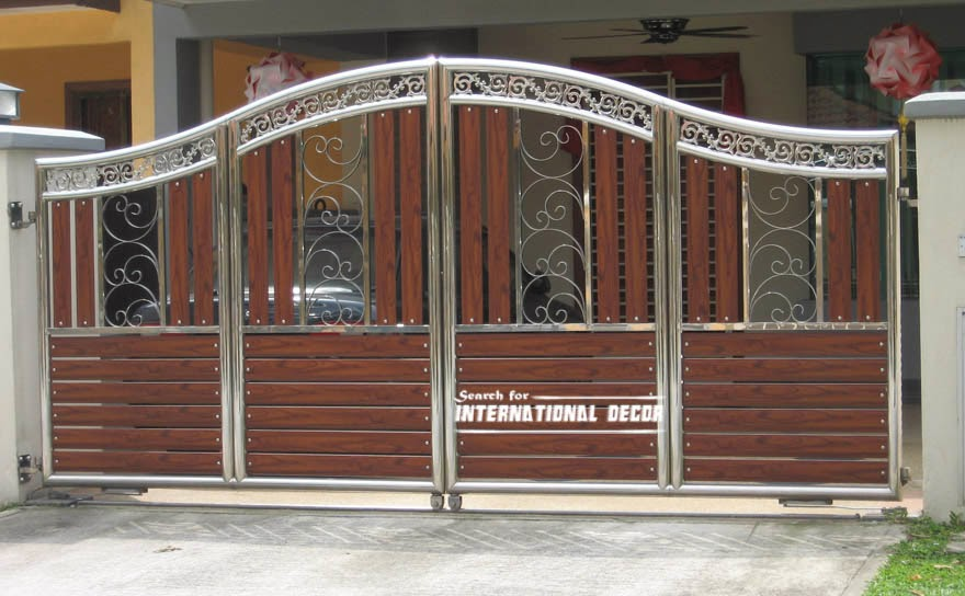 Choice of gate designs for private house and garage for Wooden main gate design for home