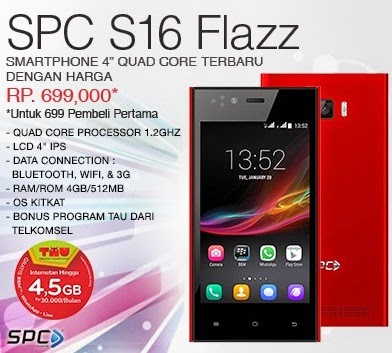 SPC S16 Flazz Smartphone Android Murah Rp 699 Ribu
