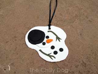 Make a polymer clay Christmas ornament celebrating a snowman's first and last holiday in Arizona.